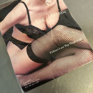VTG Lingerie Thigh Highs Fishnet Black NOS Lace
